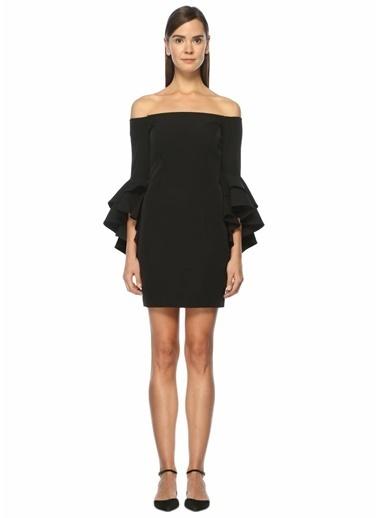 Milly Kayık Yaka Kolları Volanlı Mini Elbise Siyah